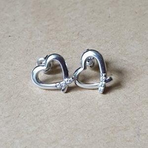 pendientes plata 925 corazon circonia