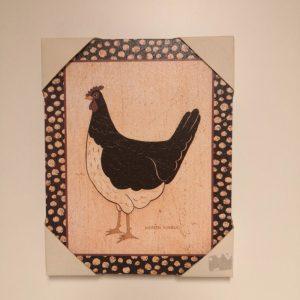 Cuadrito gallina blanca y negra