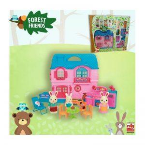Reig Casa con muebles y familia de 3 animales con accesorios tamaño grande