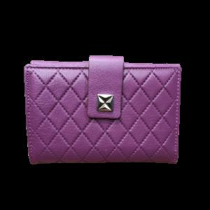 Billetera de piel color lila para mujer