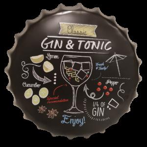Chapas metálicas en forma de tapa de botella de estilo vintage, ideales para decorar, bares, restaurantes, tu hogar... Gin tonic y sus ingredientes