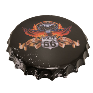Chapas metálicas en forma de tapa de botella de estilo vintage, ideales para decorar, bares, restaurantes, tu hogar... Ruta 66, Route 66, Live the legend