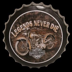 Chapas metálicas en forma de tapa de botella de estilo vintage, ideales para decorar, bares, restaurantes, tu hogar... Moto, Legends never die