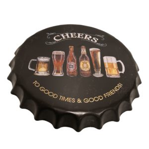 Chapas metálicas en forma de tapa de botella de estilo vintage, ideales para decorar, bares, restaurantes, tu hogar... Cheers, to good times & good friends, por los buenos momentos y los buenos amigos