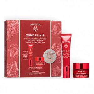 Apivita pack Wine Elixir contorno de ojos + mini talla de crema wine de día