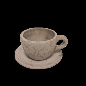Macetero en forma de taza con plato
