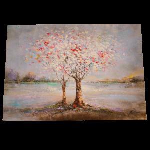 Tapa de Contador, madera estilo Vintage, pintura árboles en flor