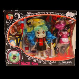 Muñeca Halloween vampiro con accesorios, Maze Kids, Witch y Clown