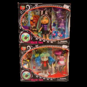 Pack Muñecas Halloween vampiro con accesorios, Maze Kids, Witch y Clown